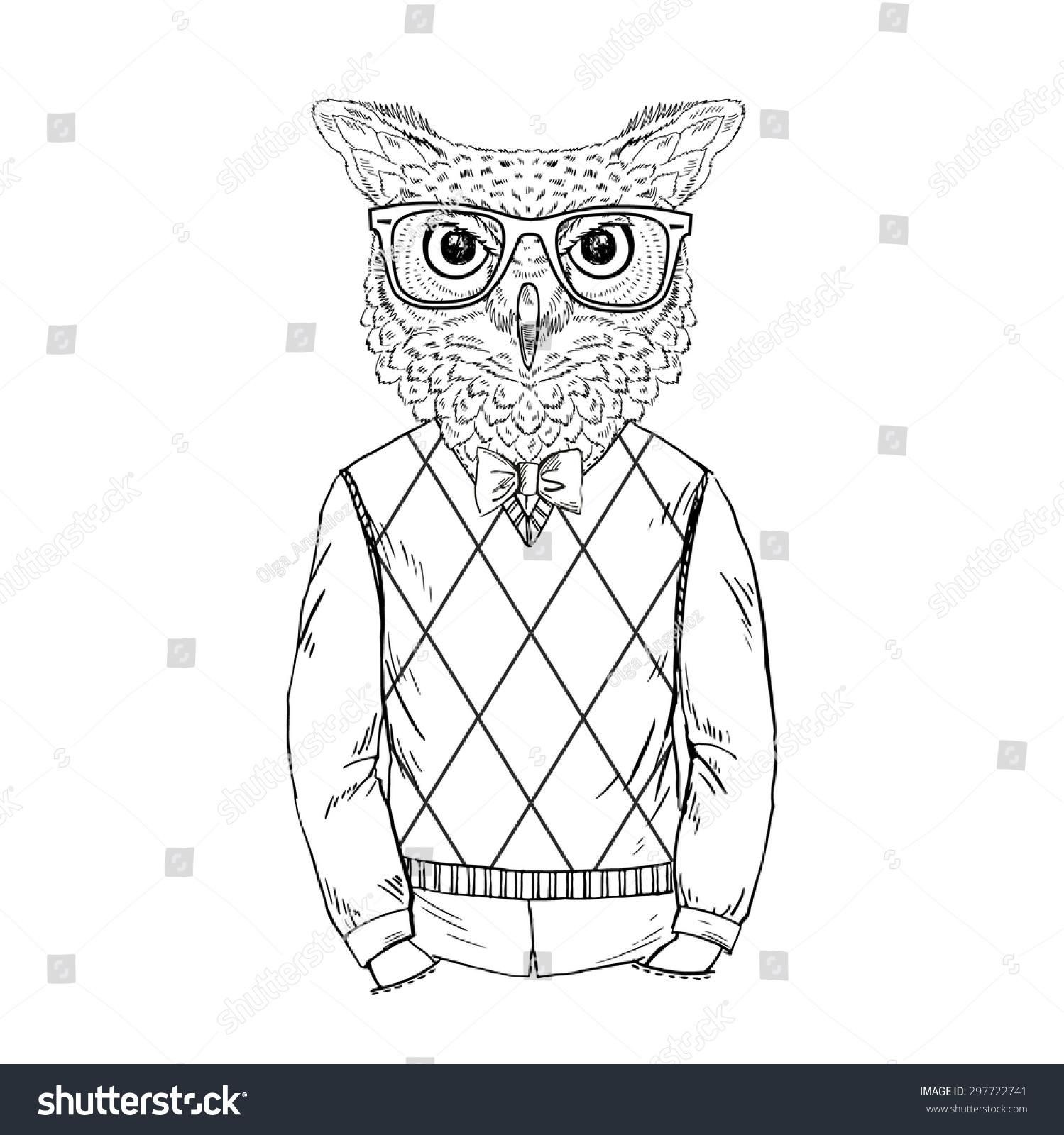 时尚动物插图,拟人化设计,毛茸茸的艺术,手绘插图的