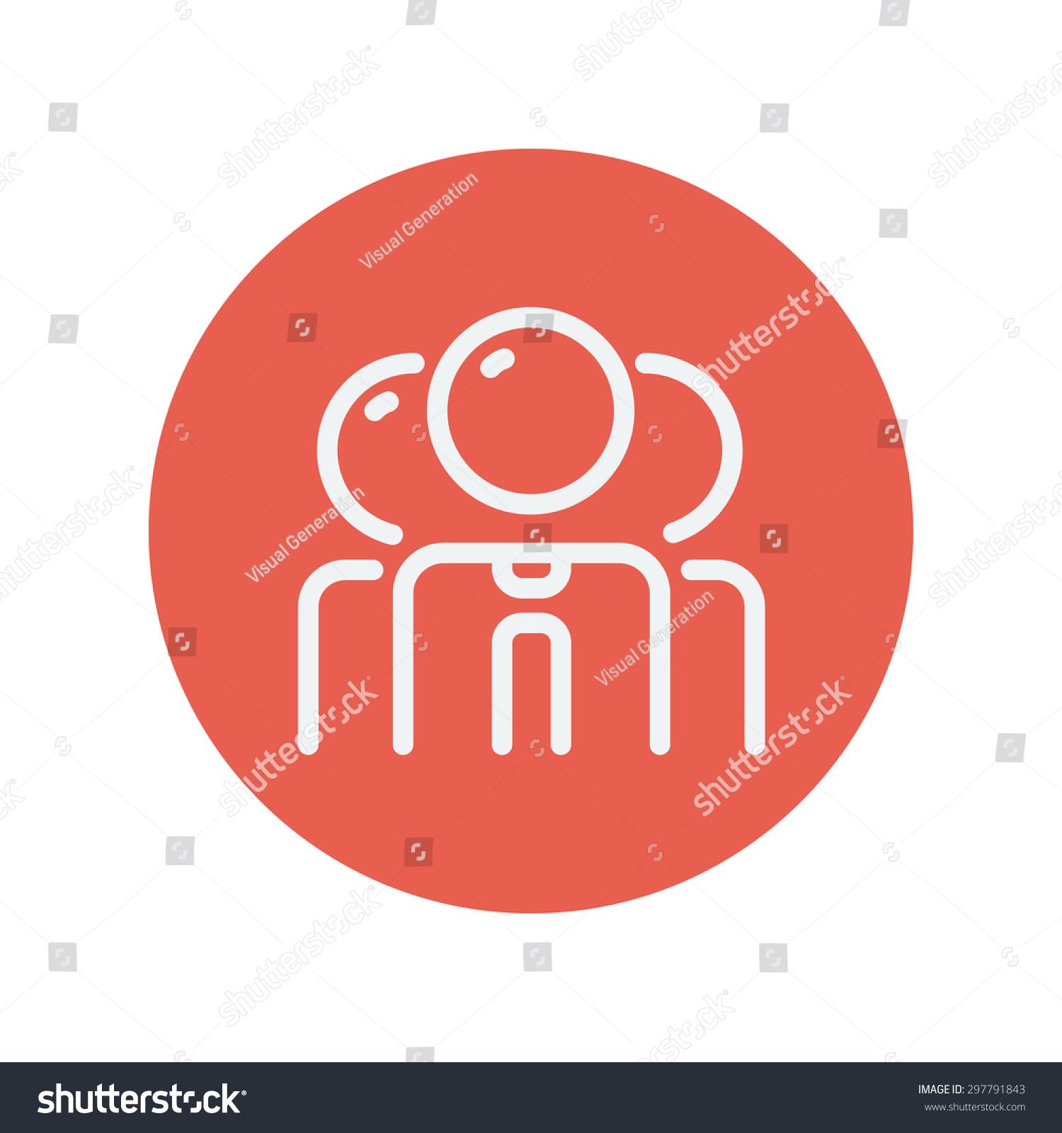 商人细线图标为web和移动简约平面设计组.红色圆圈内.