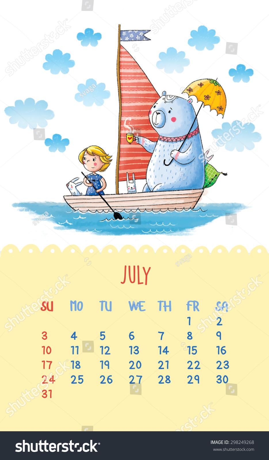 可爱的2016年日历与手绘插图.7月.卡通插图与贝尔和.