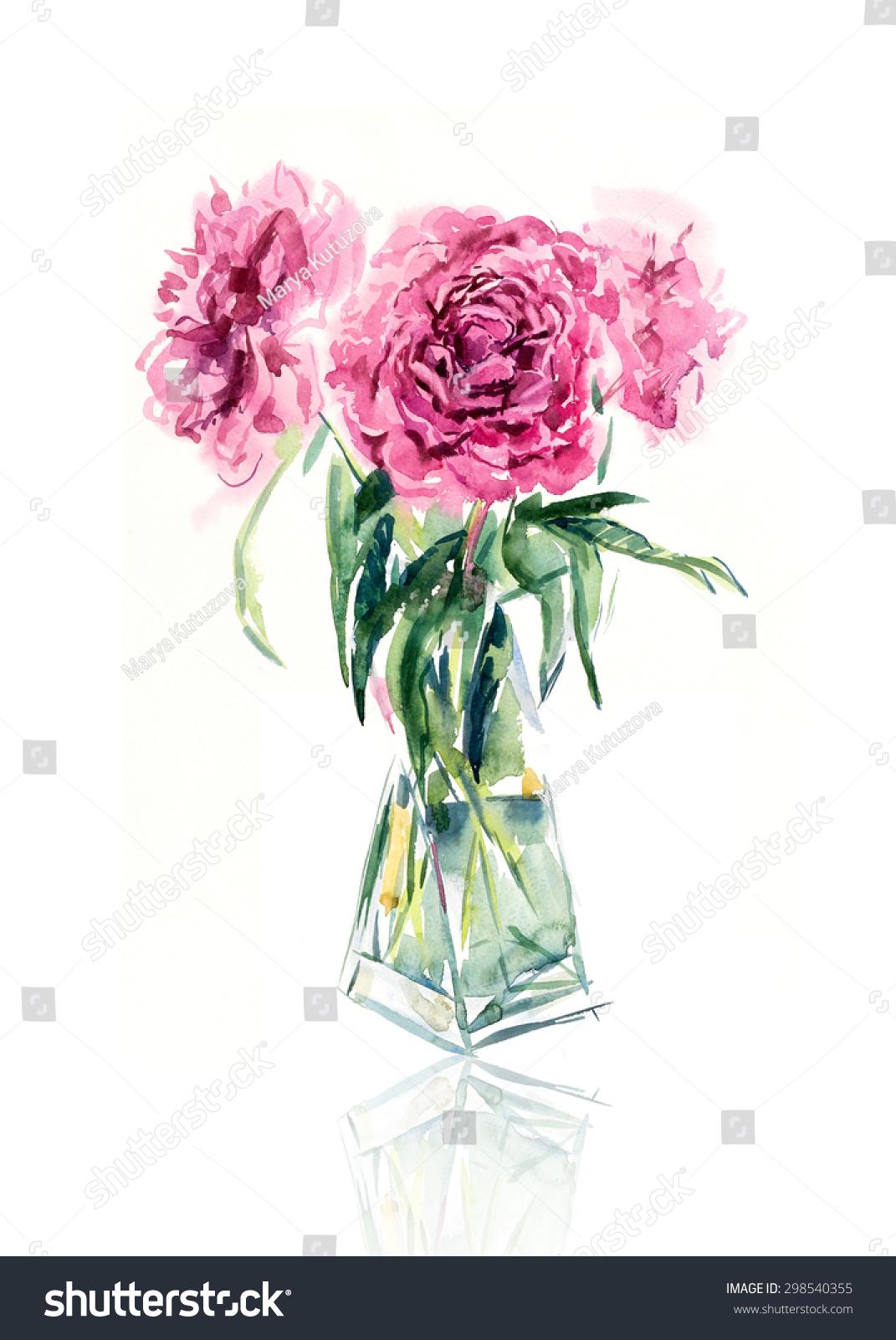 花的背景.水彩手绘插图-背景/素材
