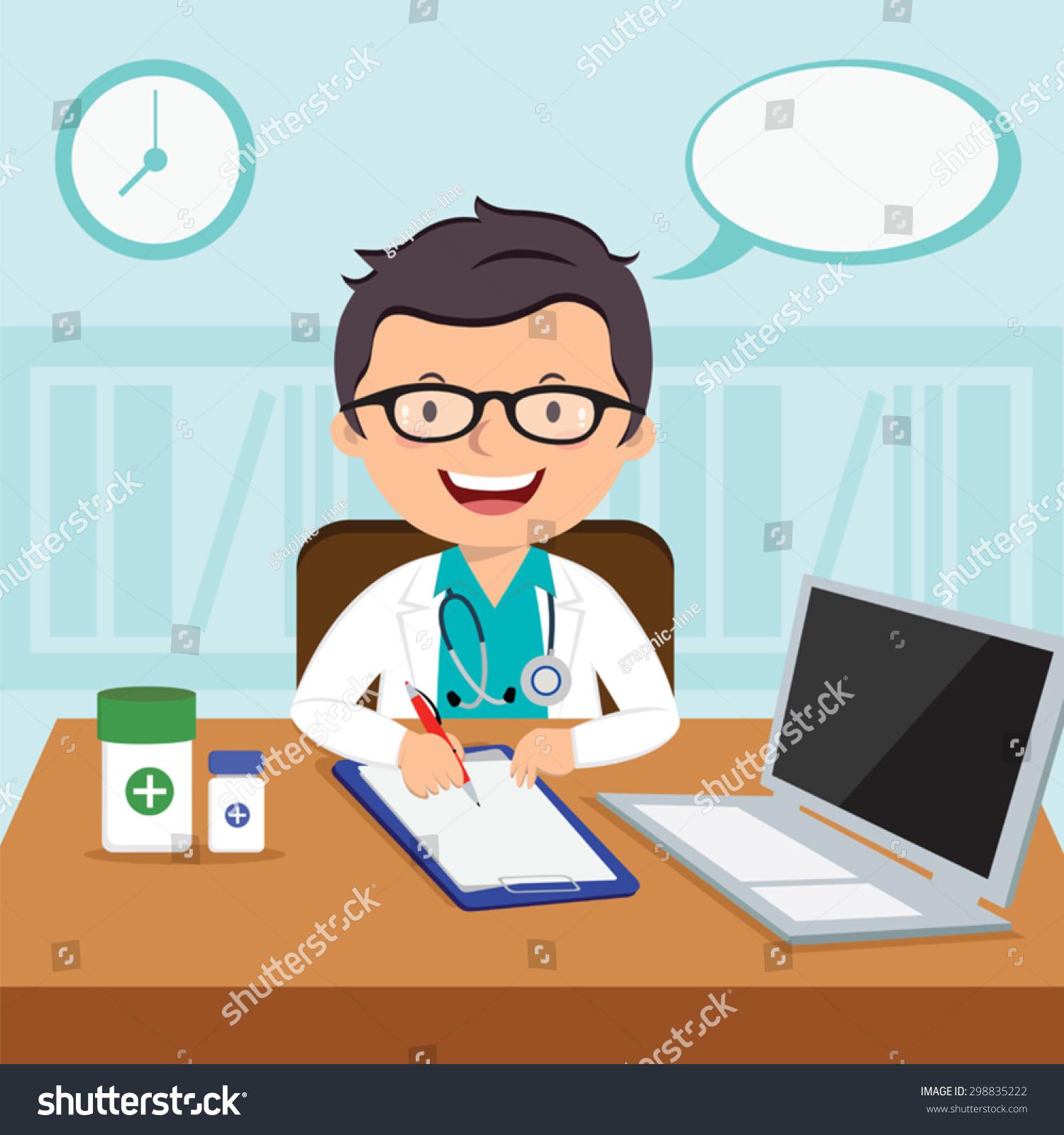微笑的医生或家庭医生的矢量插图.