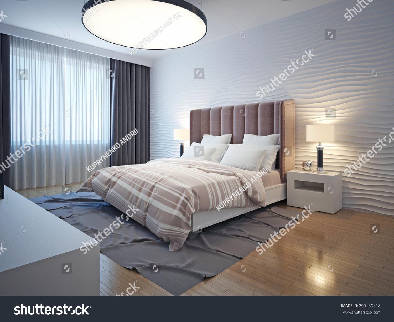 现代居室室内色调。卧室棕色木地板,床头柜和灰色的地毯。波浪石膏墙。三维渲染 - 建筑物/地标,室内 - 站酷海洛创意正版图片,视频,音乐素材交易平台 - Shutterstock中国独家合作伙伴 - 站酷旗下品牌