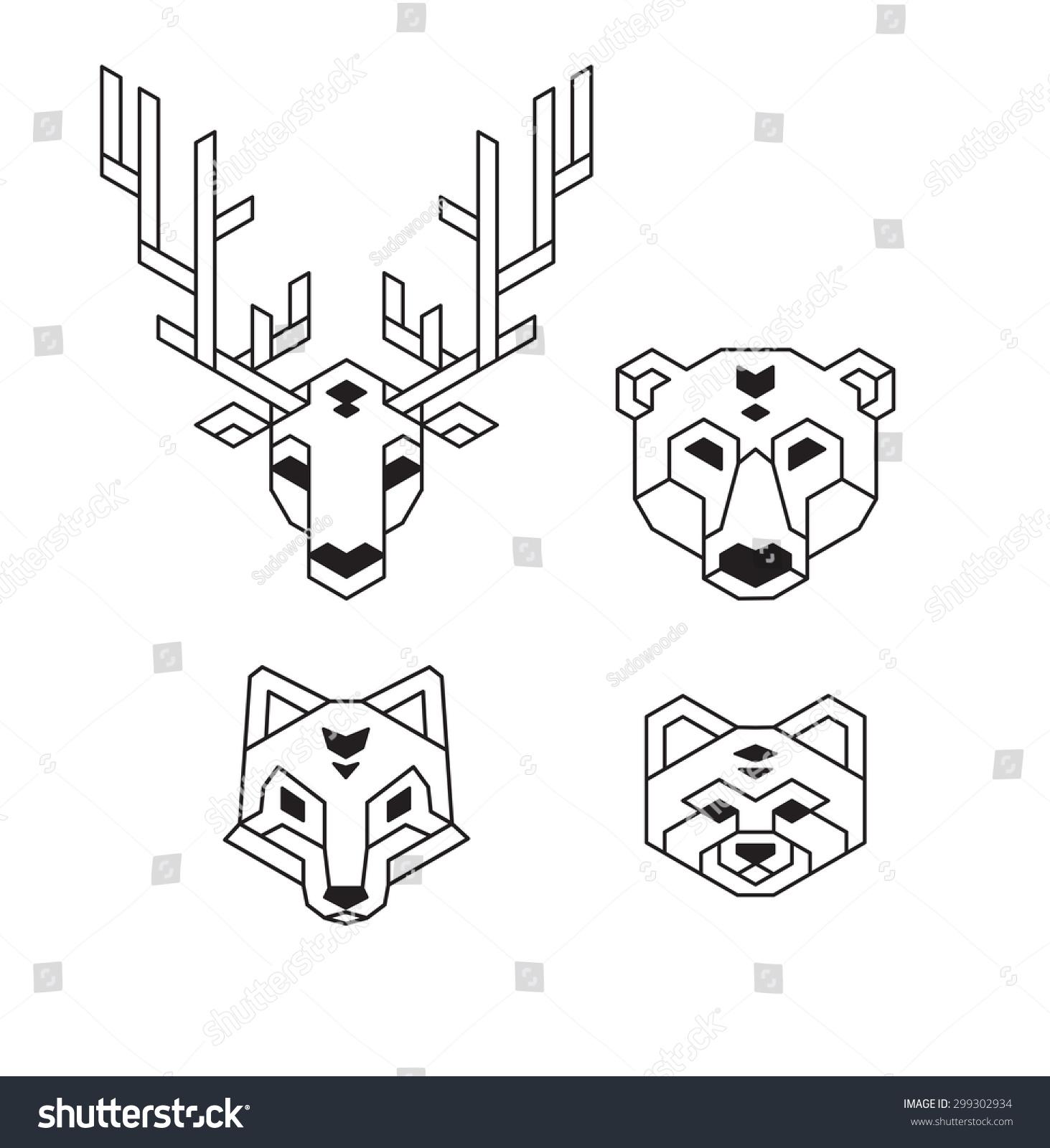 程式化的幾何動物的頭(鹿熊狼狐貍小熊貓)多邊形.圖片