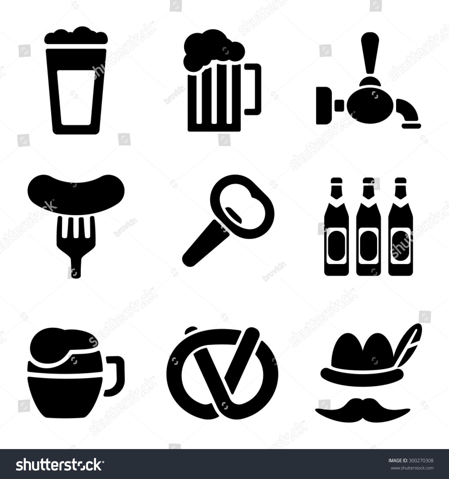 啤酒网和移动图标集合中的白背.杯,开,香肠等矢量符号