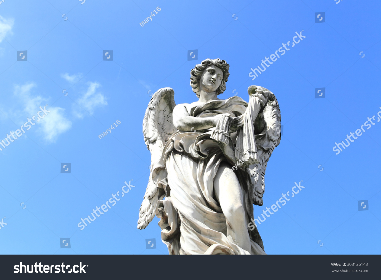 罗马城堡圣安吉洛的中世纪天使雕像-艺术,宗教-海洛()图片