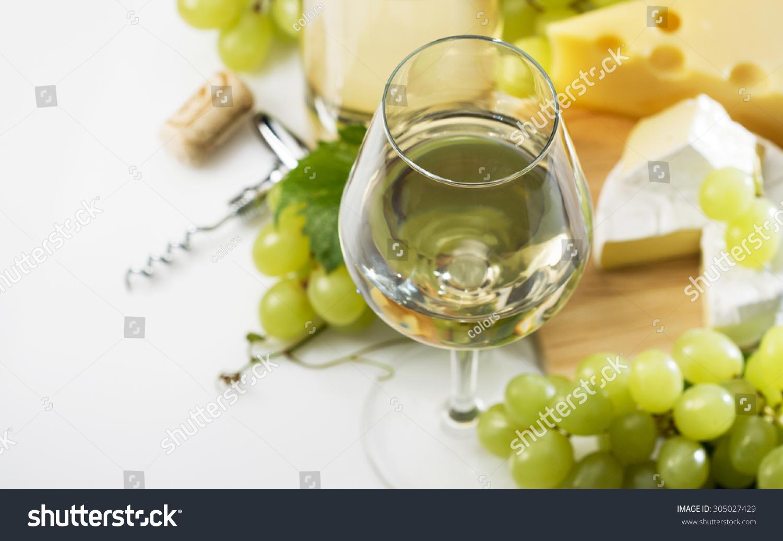 一杯白葡萄酒,瓶子和葡萄-背景/素材,食品及饮料-海洛