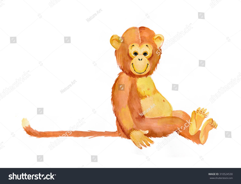 年的猴子.水彩画插图.猴子:新年卡片.