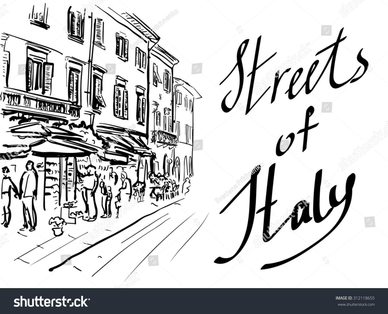在意大利艺术手绘草图的街头-建筑物/地标,艺术-海洛