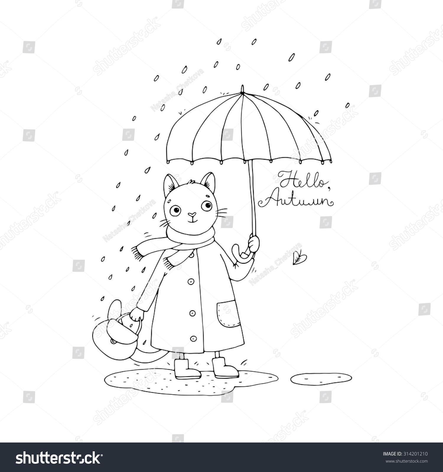 可爱的卡通猫,雨伞,雨和水坑。手绘孤立在白色背景的对象。矢量插图。彩色的书。你好,秋天。 - 动物/野生生物,艺术 - 站酷海洛创意正版图片,视频,音乐素材交易平台 - Shutterstock中国独家合作伙伴 - 站酷旗下品牌