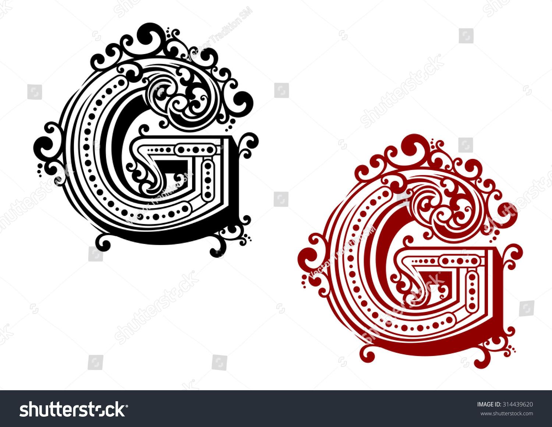 使用大写字母 G字体 装饰观赏繁荣和书法装饰设