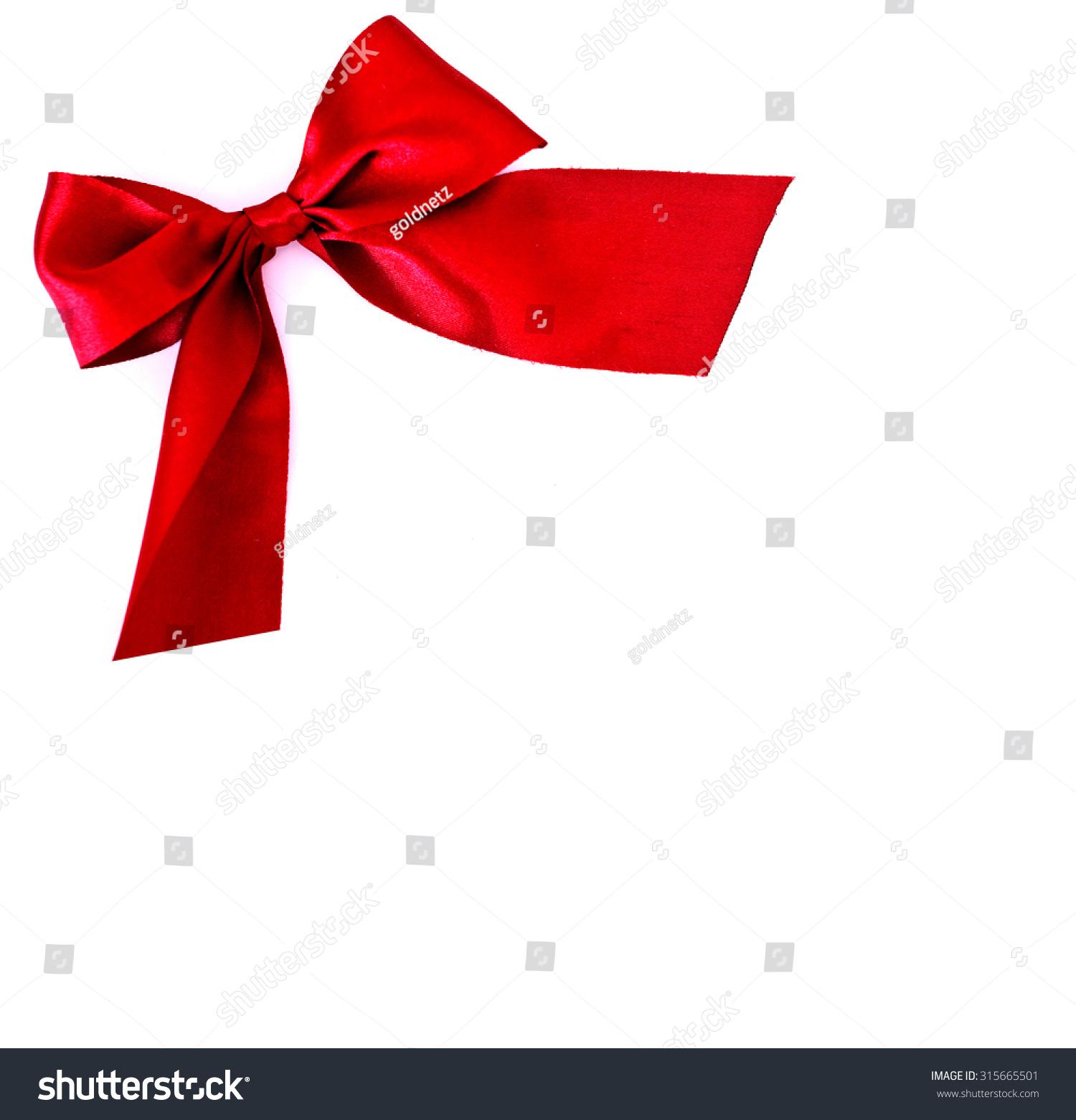 喜庆的红色蝴蝶结在白色背景——复制文本的空间