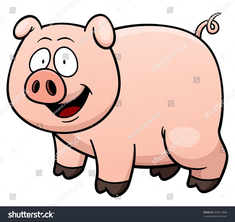 卡通猪的矢量插图-动物/野生生物,自然-海洛创意()-合