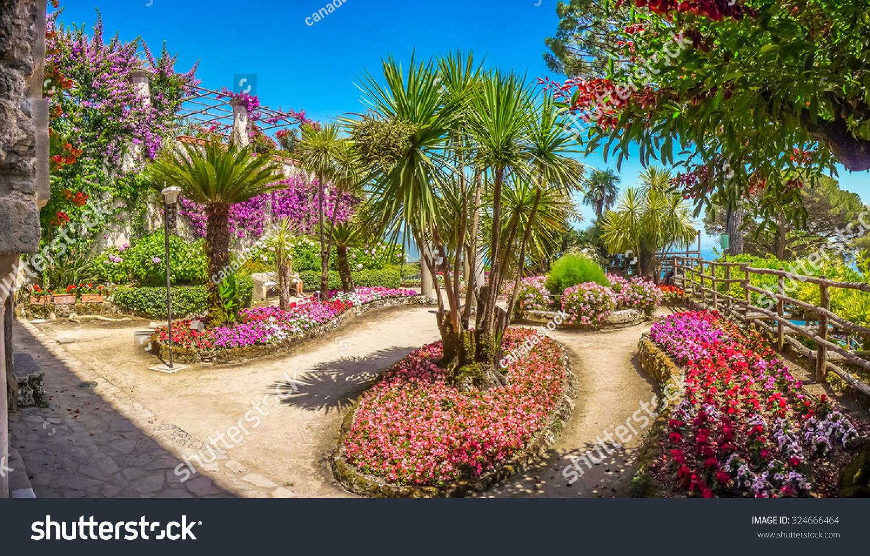 风景明信片的美丽田园别墅rufolo花园在ravello著名的