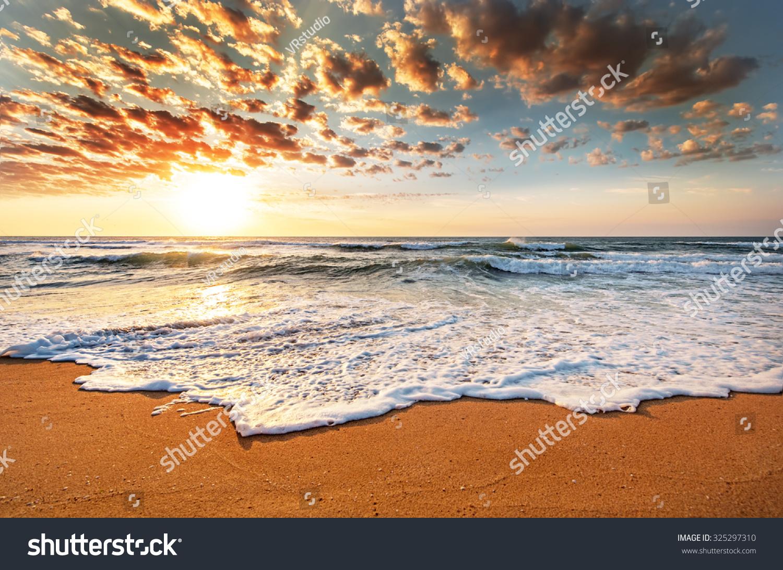 灿烂的海洋海滩日出.-自然-海洛创意(hellorf)-中国-.图片