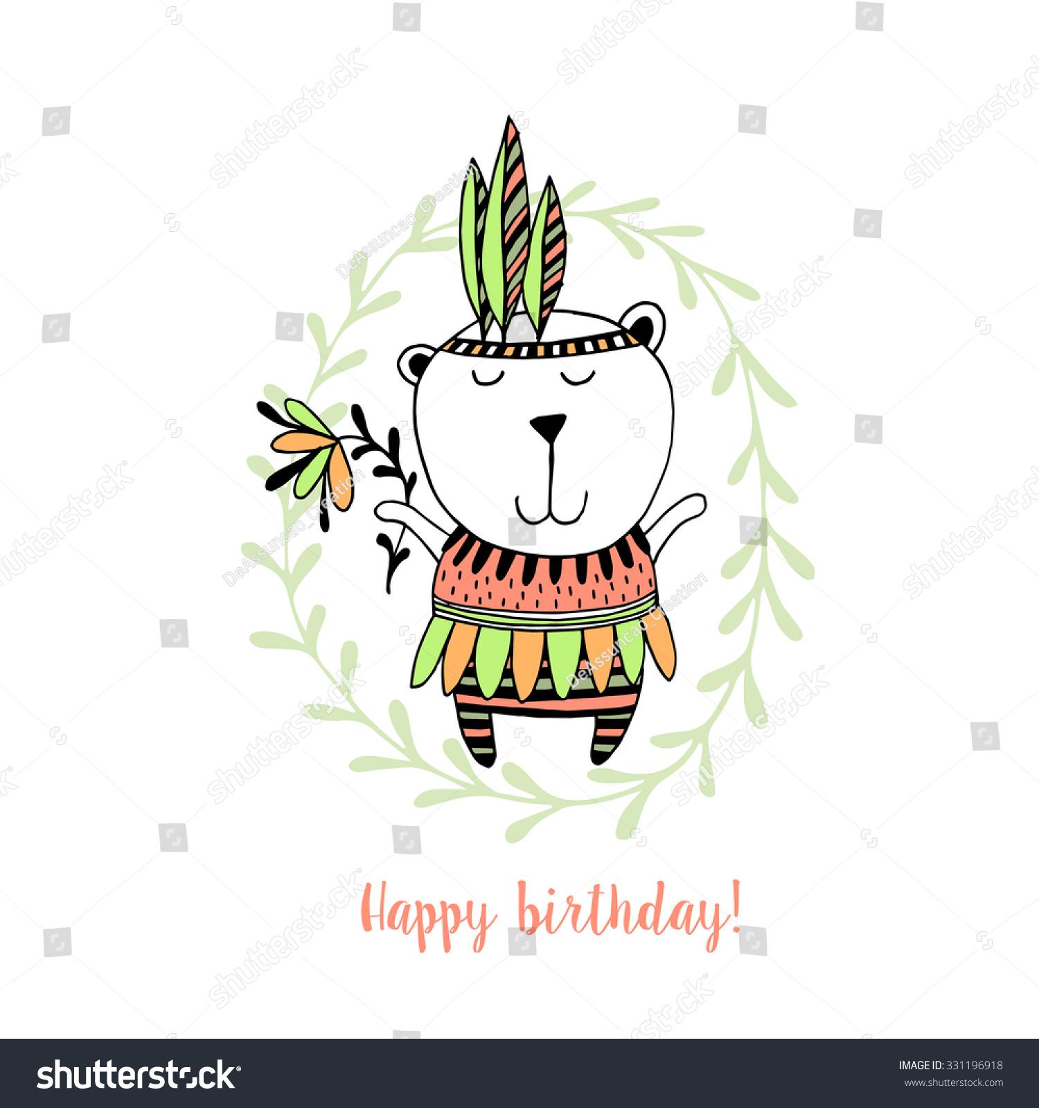 生日快乐卡片,可爱的熊.孩子们的背景.