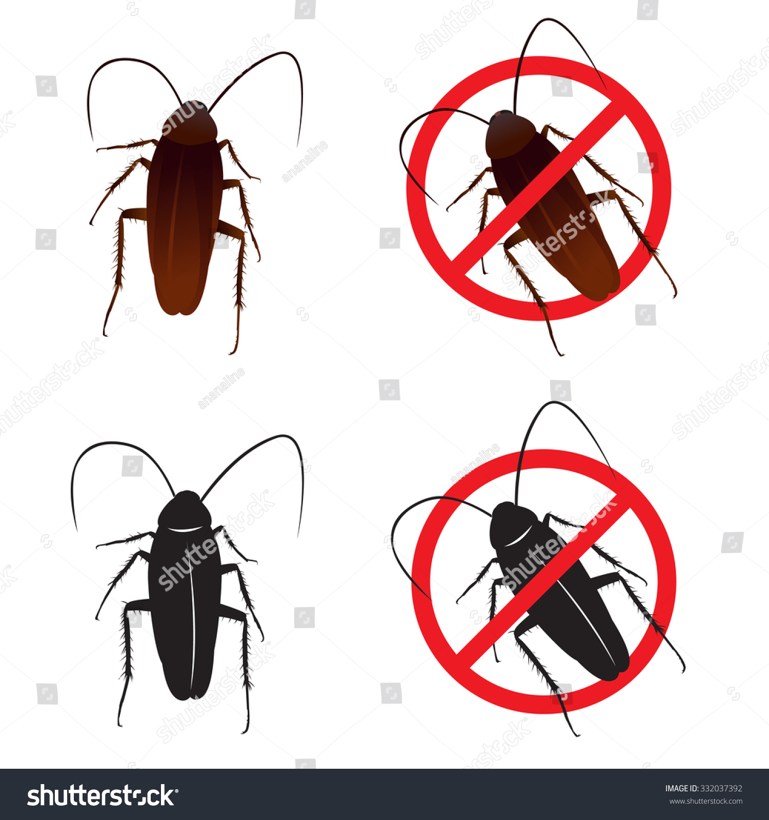蟑螂小强和停止标志符号向量设计-动物/野生生物