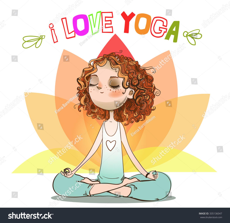 卡通女孩在瑜伽姿势