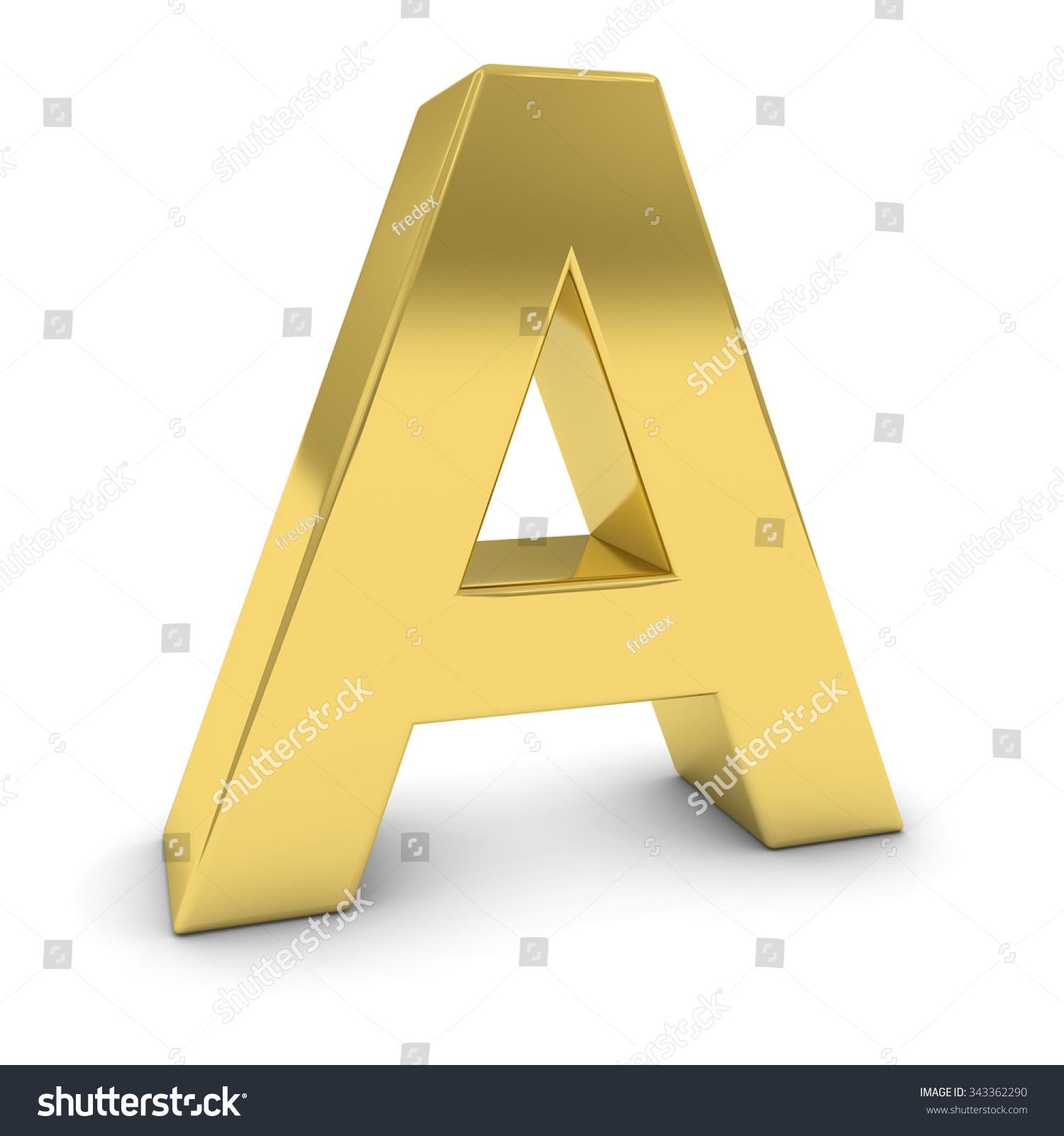 ��.d:-a:+�_黄金3 d大写字母a孤立在白色的阴影-物体,符号/标志