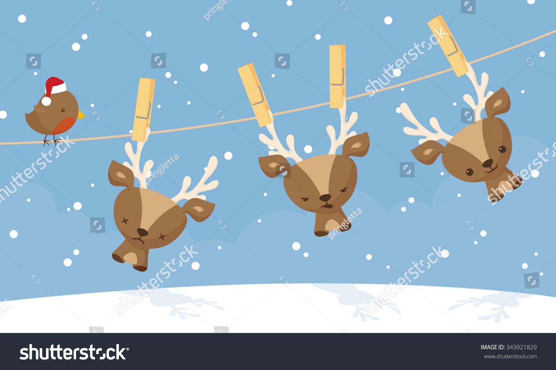 小驯鹿去干挂在晒衣绳.-动物/野生生物,假期-海洛创意