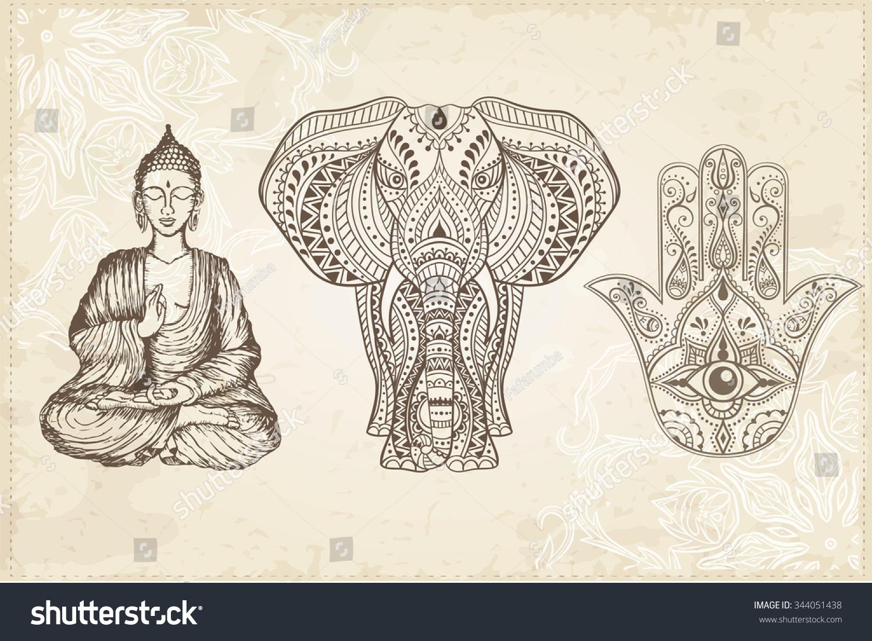 印度手绘大家知导盲,大象,坐佛.阿拉伯语和犹太人的护身符.矢量插图.
