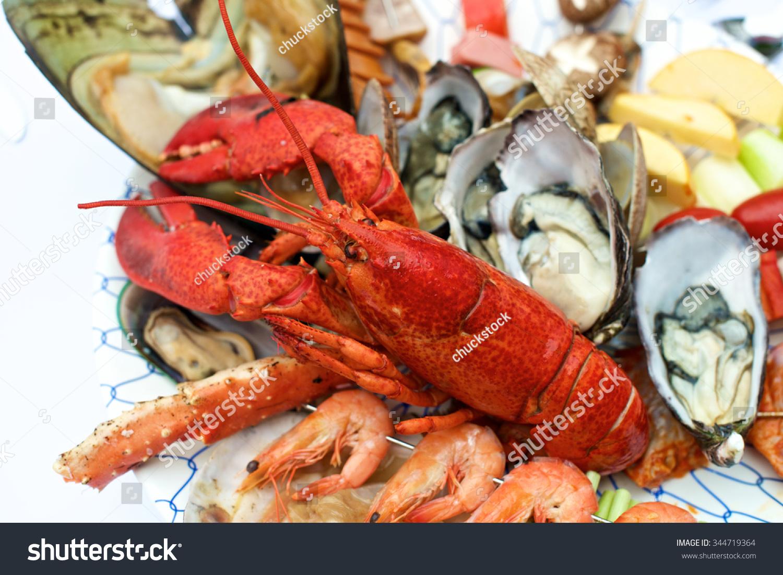 龙虾海鲜自助餐厅的桌子-食品及饮料-海洛创意()-中国
