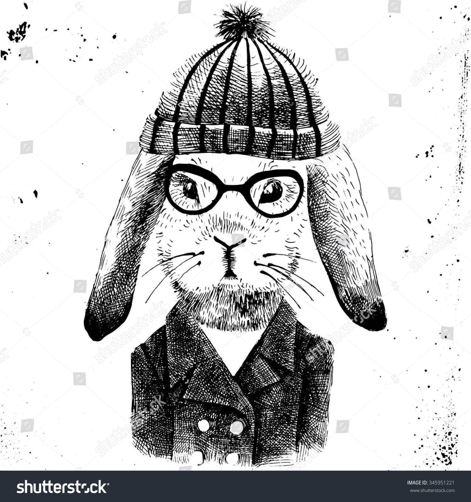 手绘插图的打扮兔子的女孩-动物/野生生物