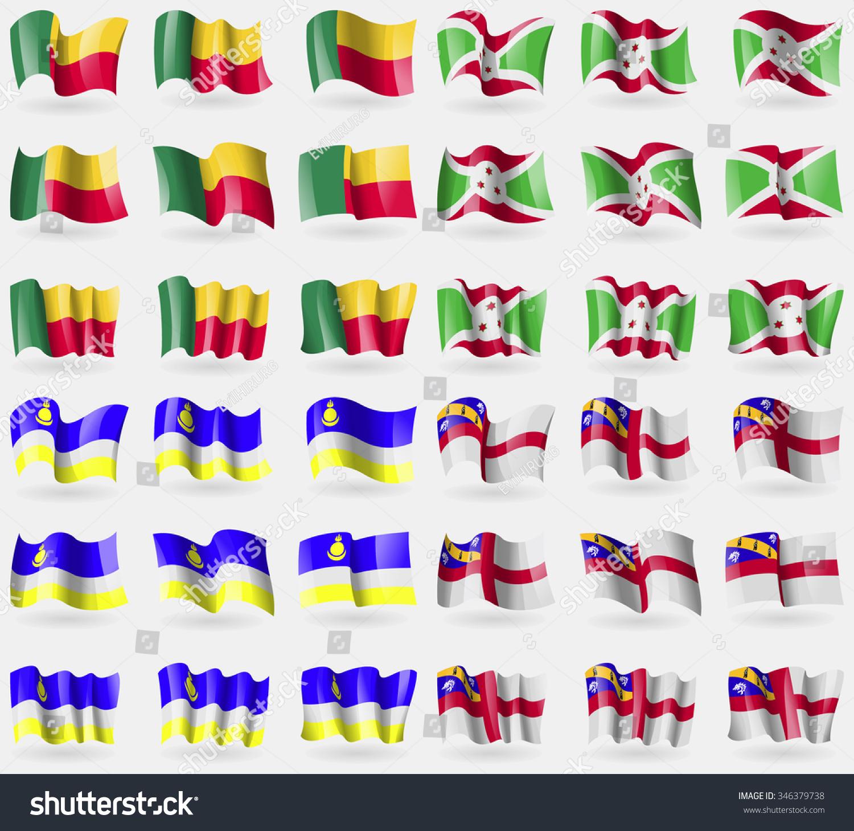 的36个国家的旗帜.矢量图