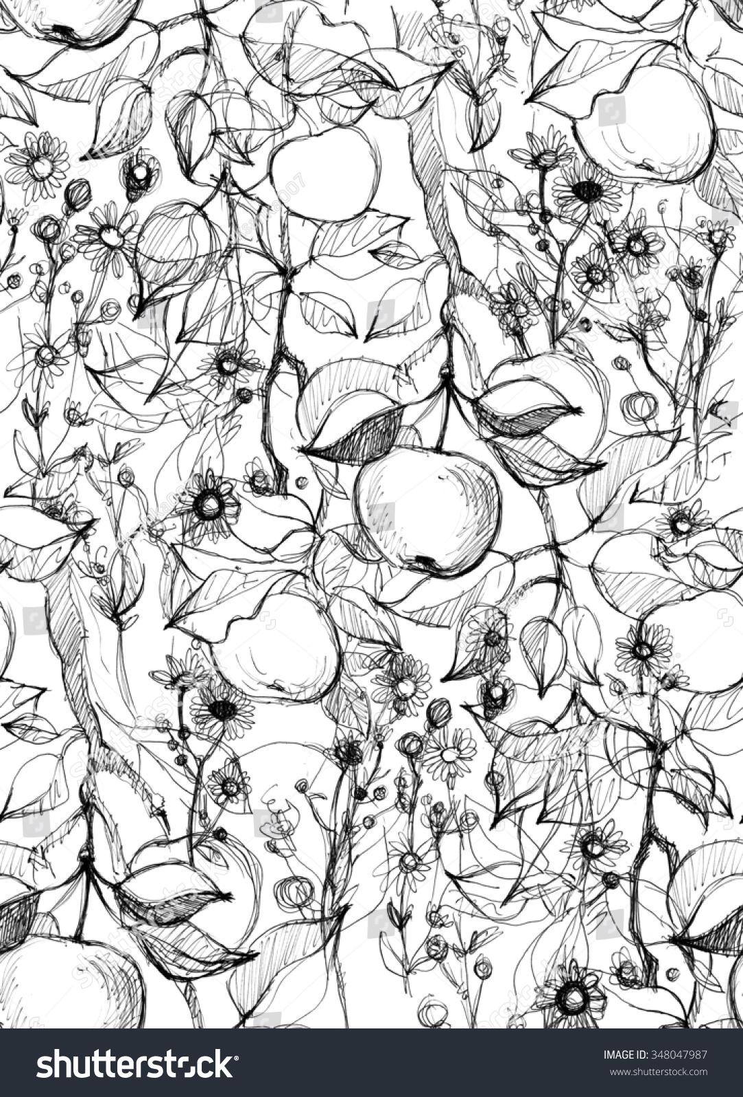苹果树果实,森林花,叶子.手绘惊人的艺术品.
