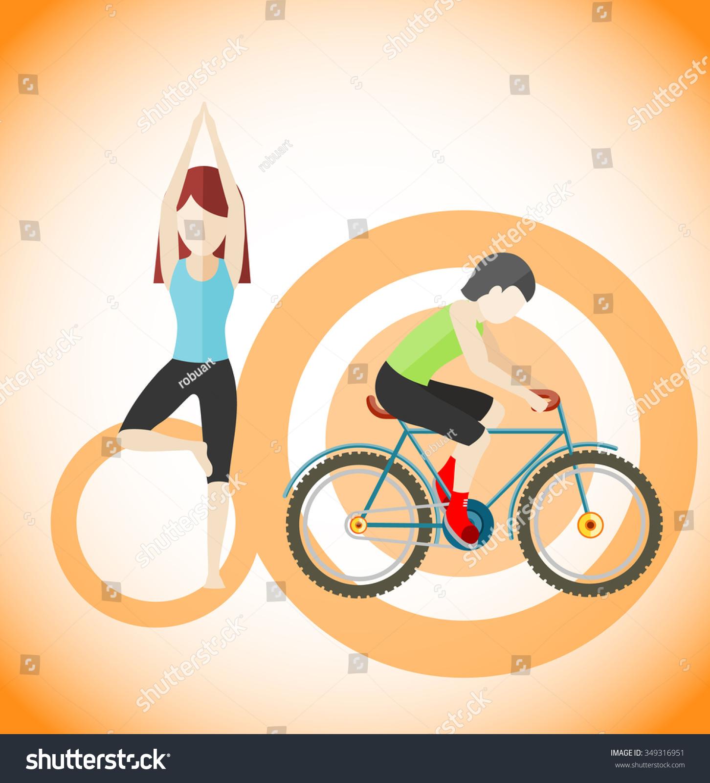 瑜伽和自行车运动概念设计