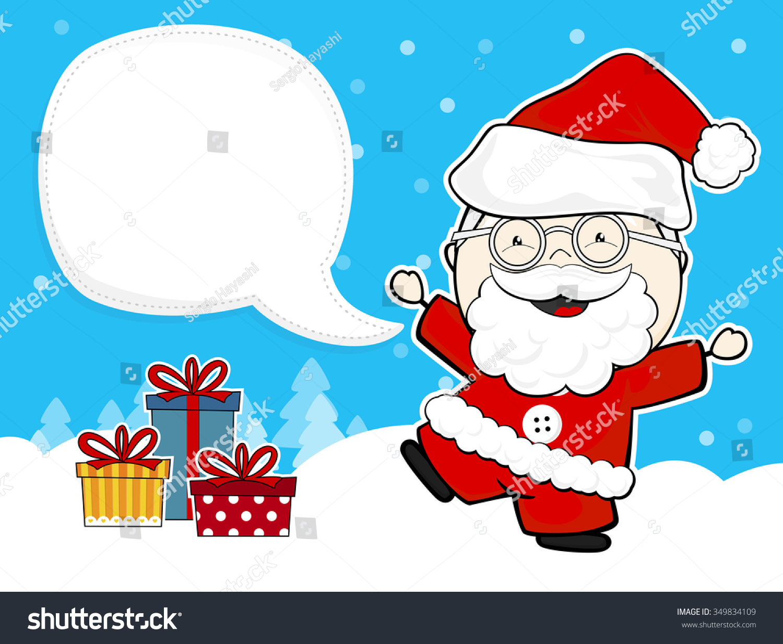 可爱的圣诞老人的礼物盒和空白泡沫文本背景在冬天