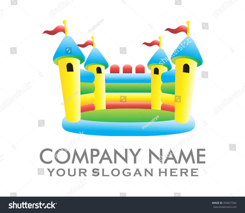 塑料城堡气球的孩子操场人物插图标志图标矢量图片