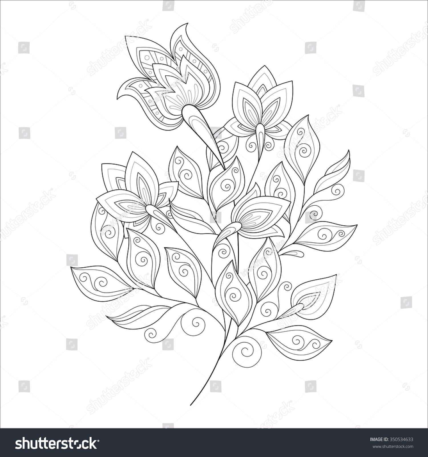 向量美丽的黑白轮廓的花,花的设计元素-物体,自然-()