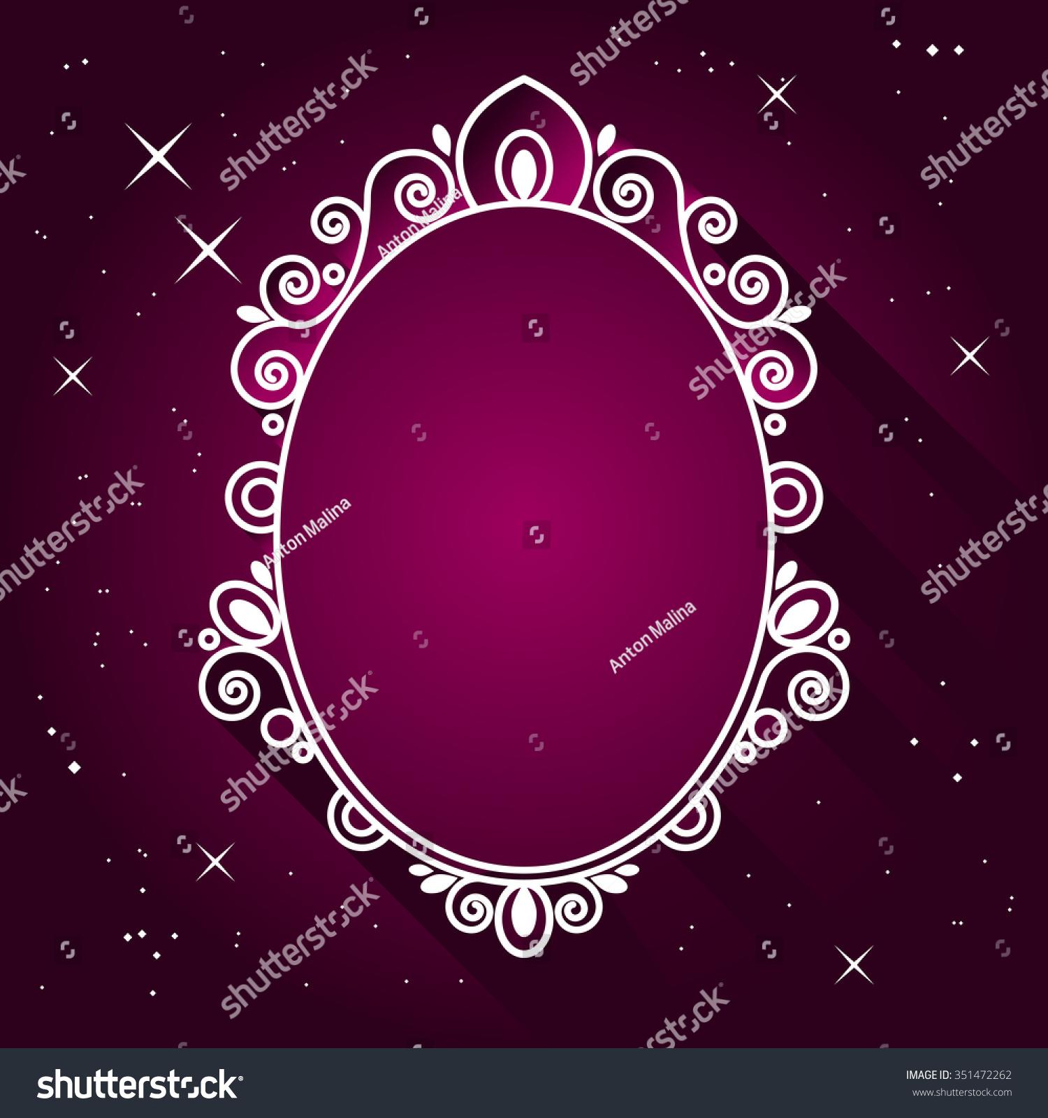 魔镜矢量插图.古典皇家椭圆形的框架.时尚背景