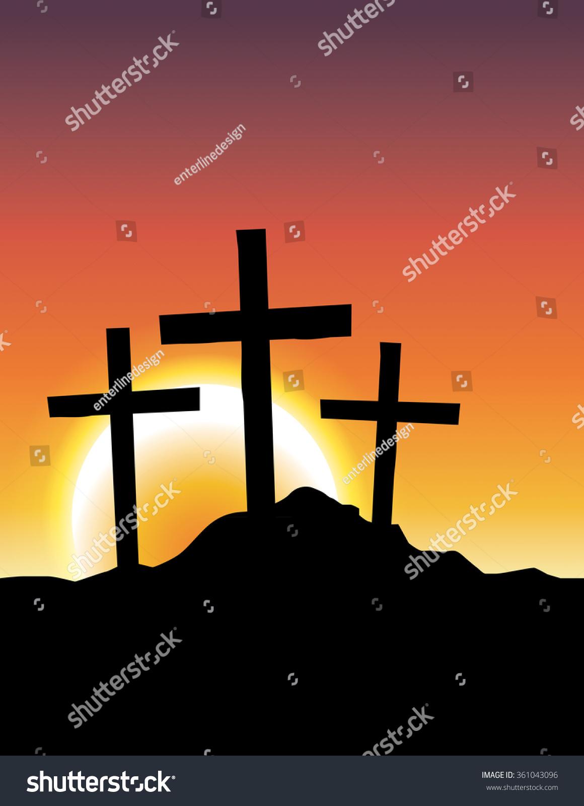 基督教十字架十字架剪影插图广告一次日出或日落.矢量图片