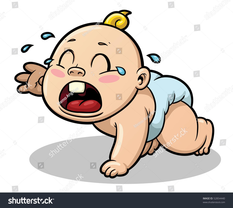 可爱的卡通婴儿哭.婴儿和影子在不同层容易编辑