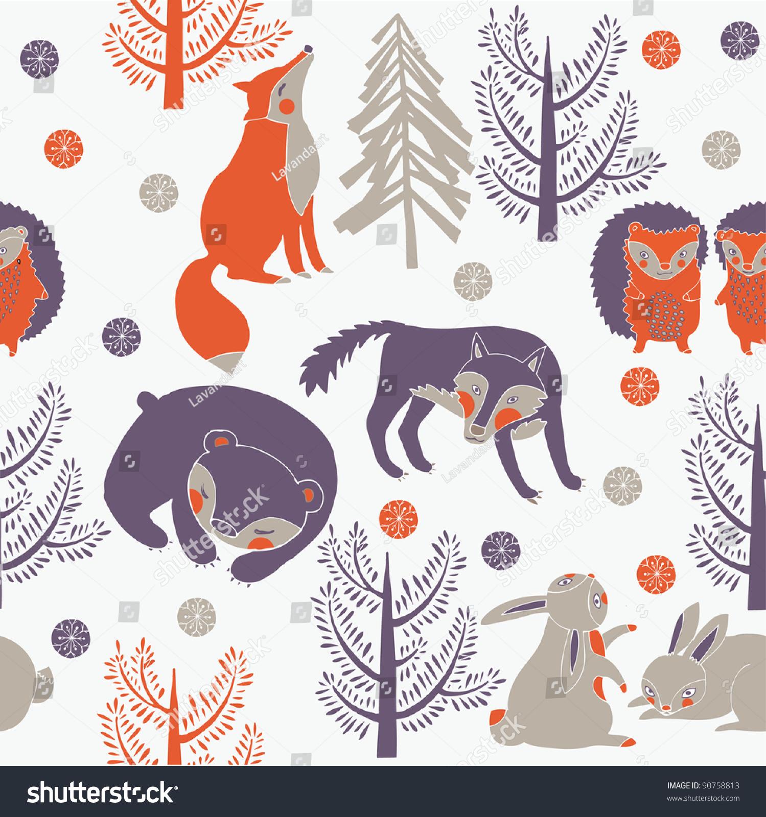 冬季森林和可爱的动物-动物/野生生物