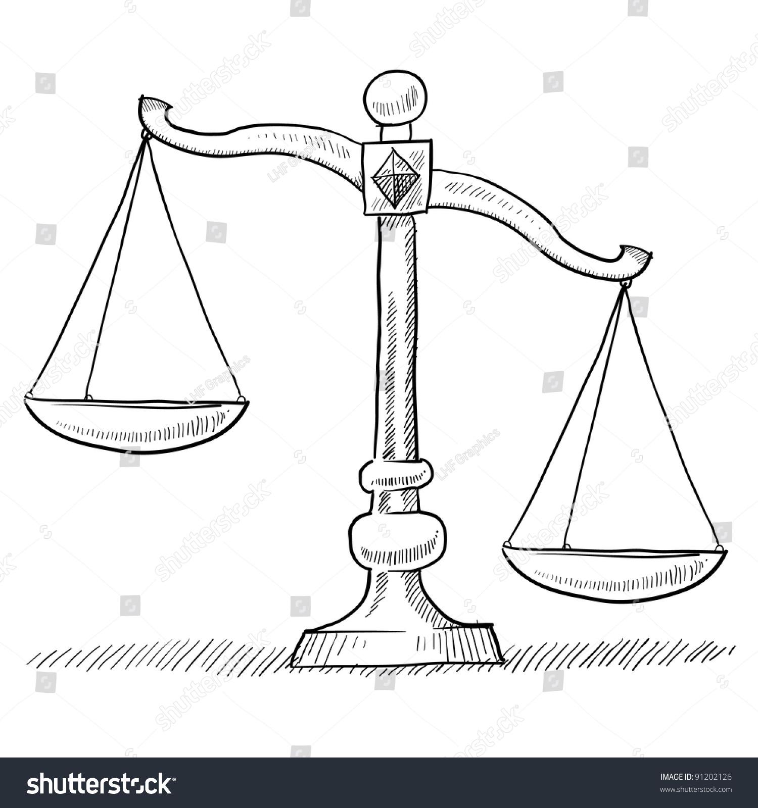 涂鸦风格的倾斜或不平衡的正义天平插画矢量格式的于