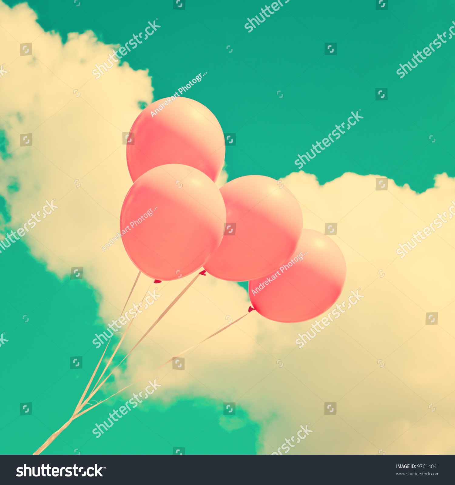 粉色的气球-复古风格,抽象-海洛创意(hellorf)-中国-.