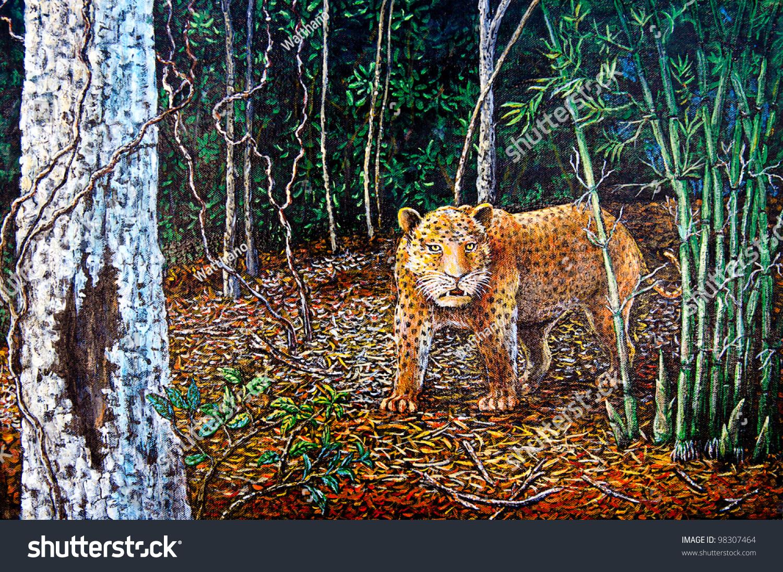 老虎在森林里的油画-背景/素材,艺术-海洛创意()-中国