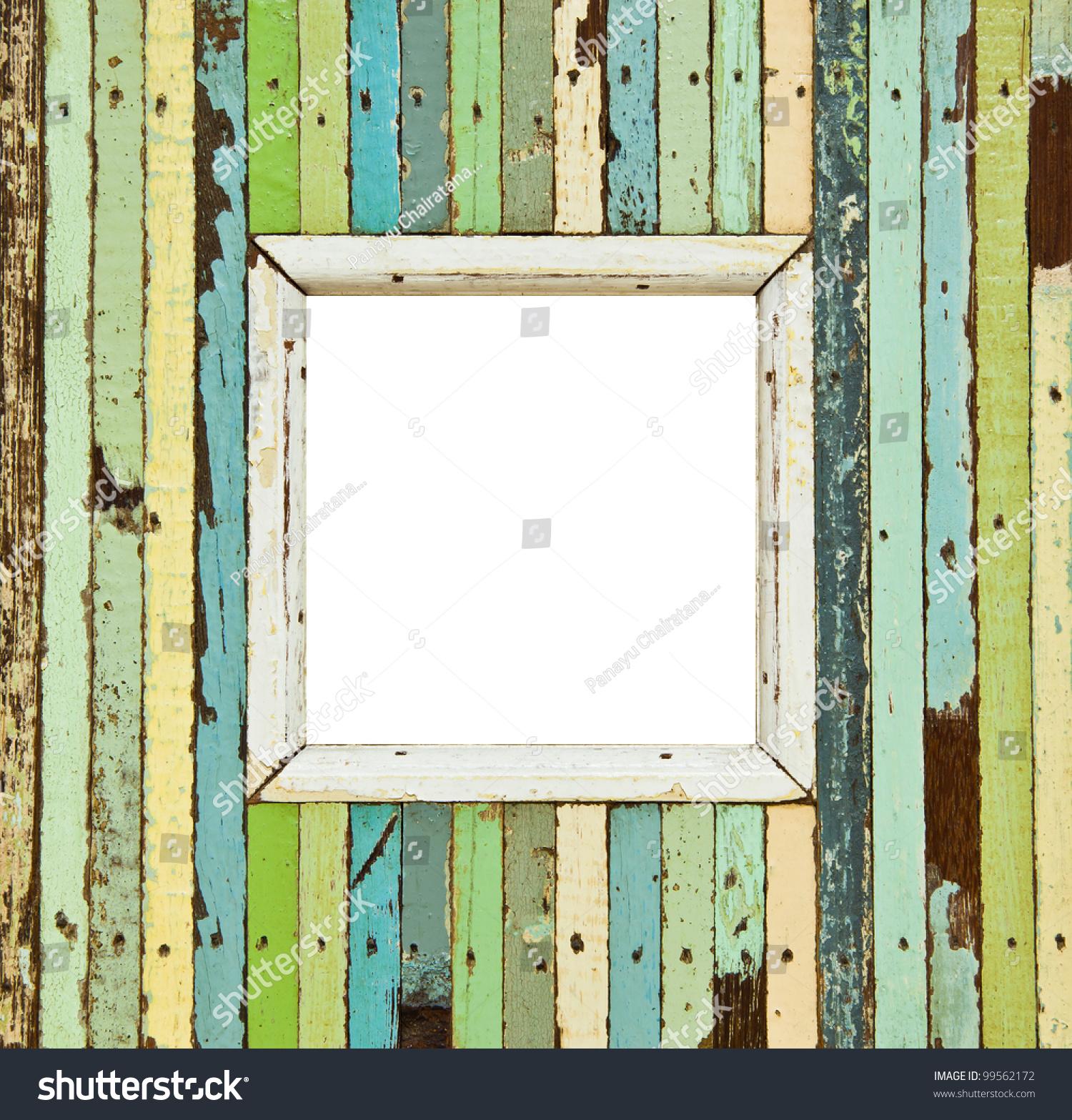 彩色的木制相框的孤立的形象-背景/素材